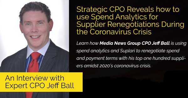 Strategic CPO Reveals how to use Spend Analytics for Supplier Renegotiations During the Coronavirus Crisis
